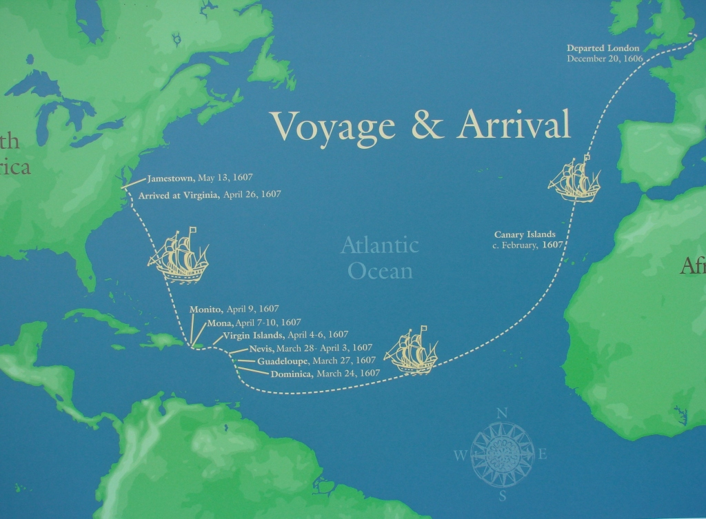map showing the dates and voyages of the English settlers