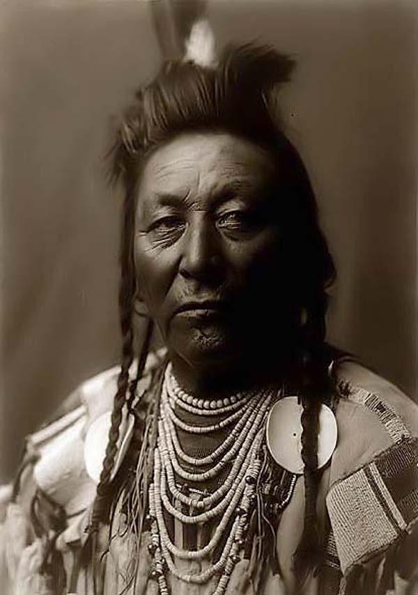 portrait of Chief Plenty Coups created by Edward S. Curtis in 1908