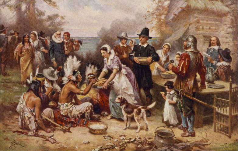 Painting by J.L.G Ferris, titled The First Thanksgiving 1621, was published in 1932