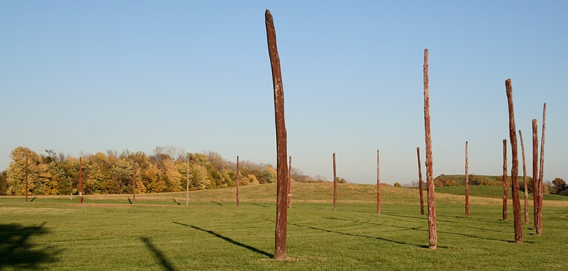 Reconstruction of Woodhenge found at Cahokia Mounds State Historic Site, photo by jqjacobs.net