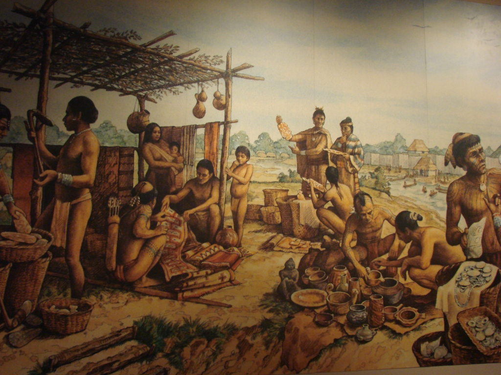 illustration of Cahokia's marketplace found at Cahokia Mounds State Historic Site