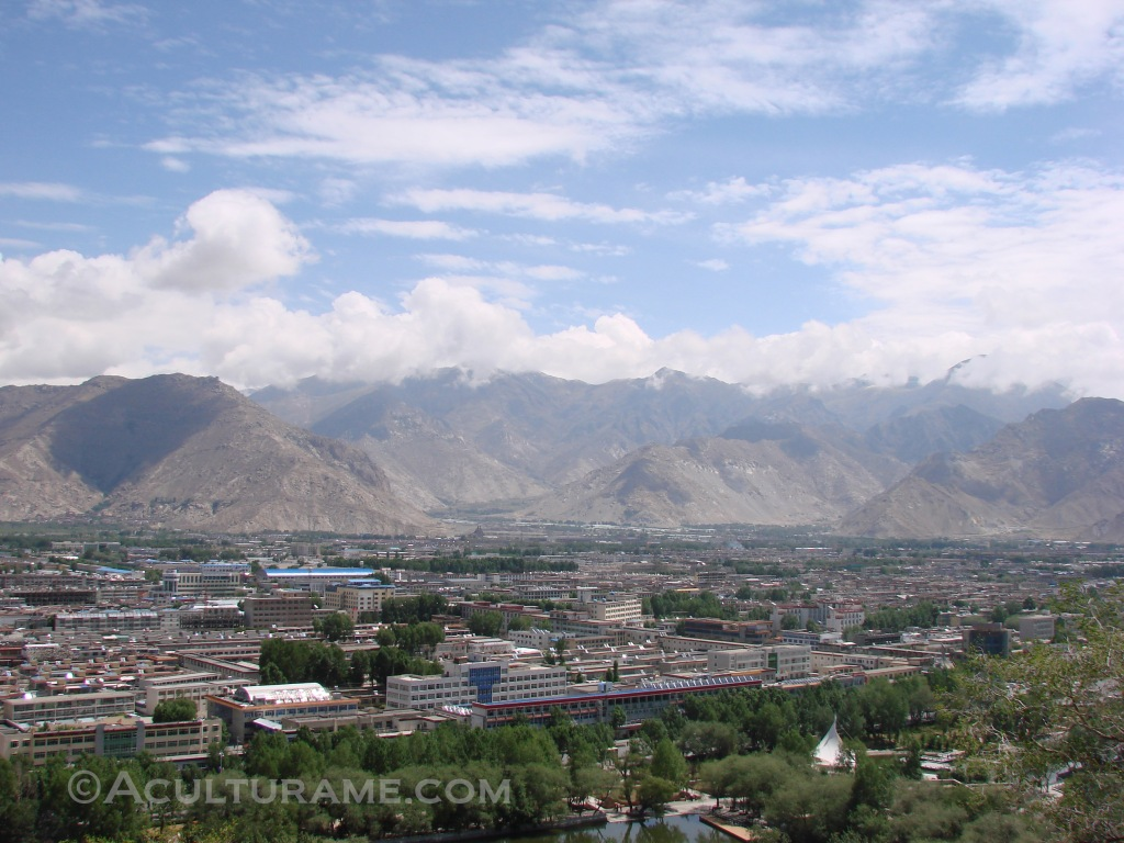 a sacred city in Tibet nestled in the mountains