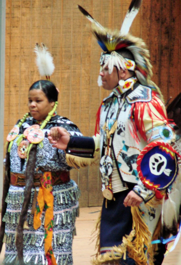 Jingle Dress dancer with dancing partner
