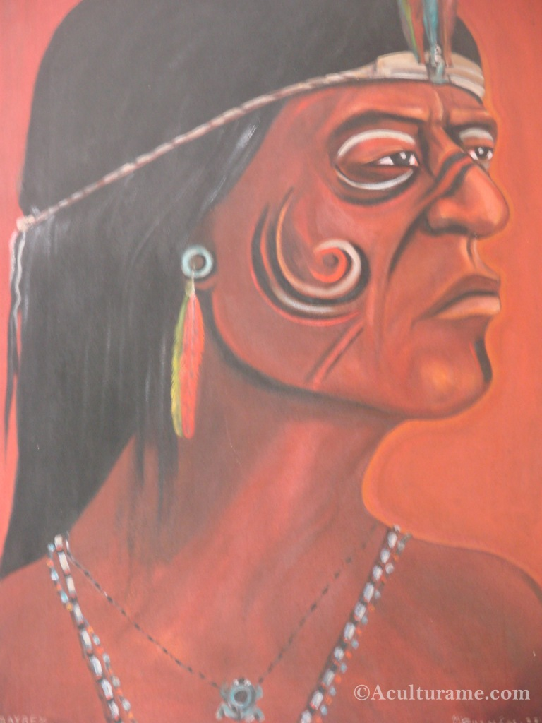 Painting of a Taino Indian found at Caguana Indigenous Ceremonial Park in Utuado, Puerto Rico