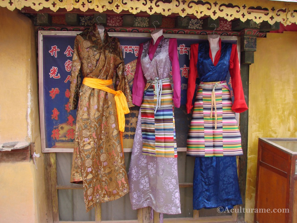 Lhasa chubas with pangden or colorful apron