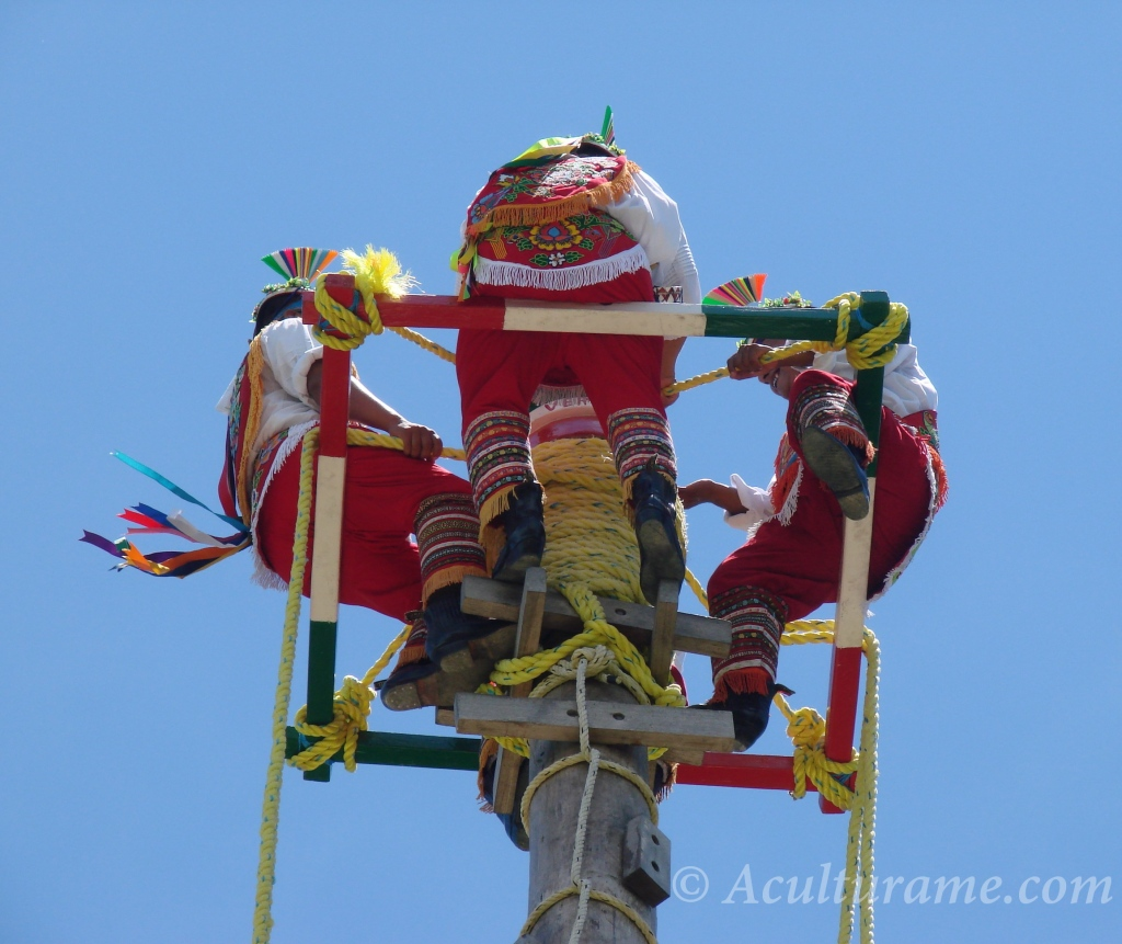 the Papantla Flyers engaged in the ceremony