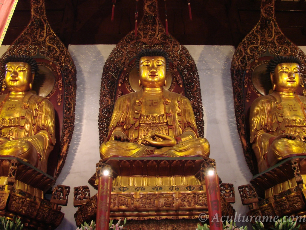 the Three Golden Buddhas The Buddha at the center, Amitabha at the left and Bhaisajyaguru at the right