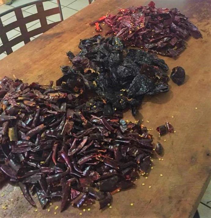chile cascabel, ancho, and guajillo