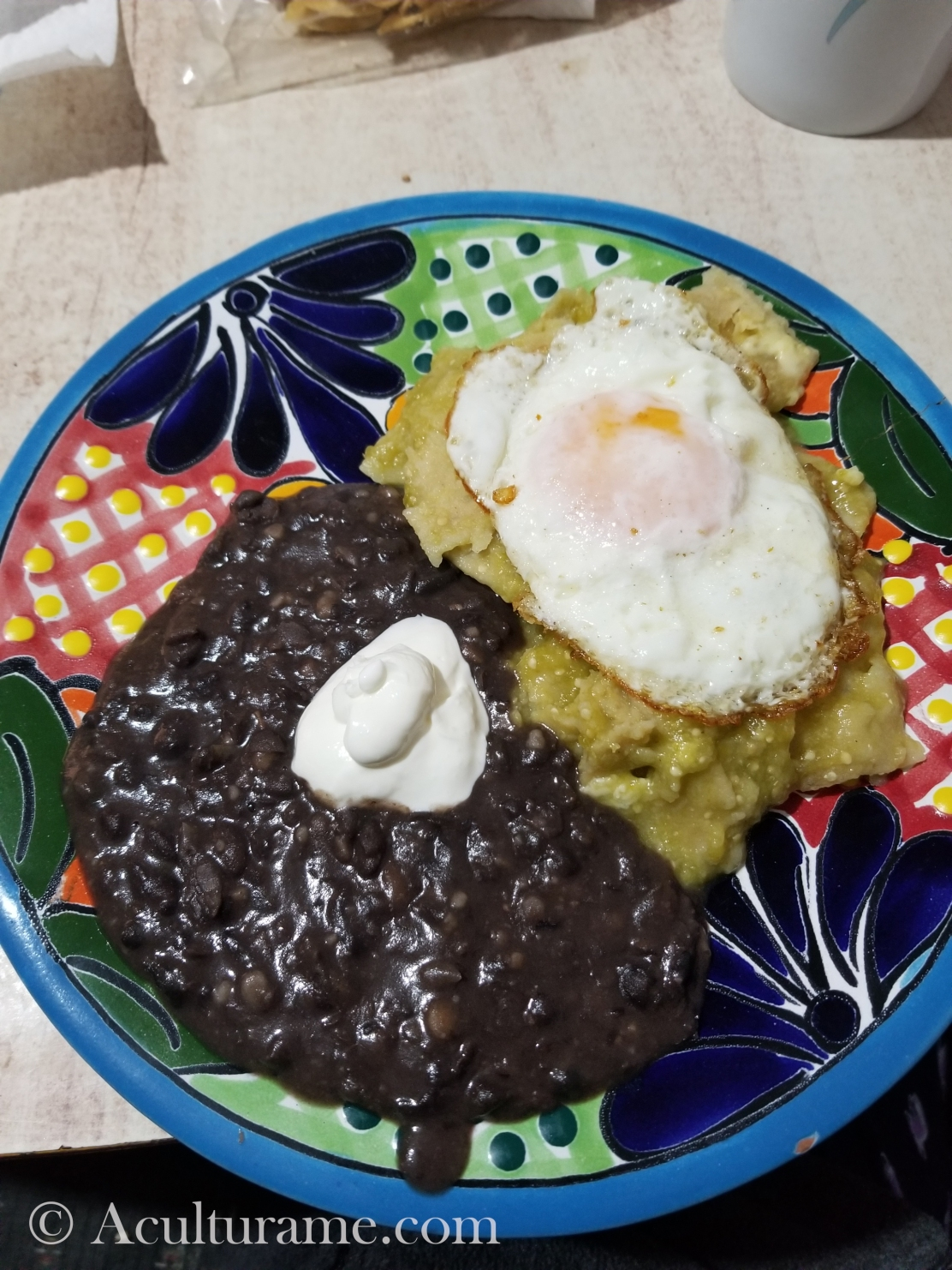 Chilaquiles Verdes is a traditional Mexican peasant dish made with fried tortillas and green or red salsa.