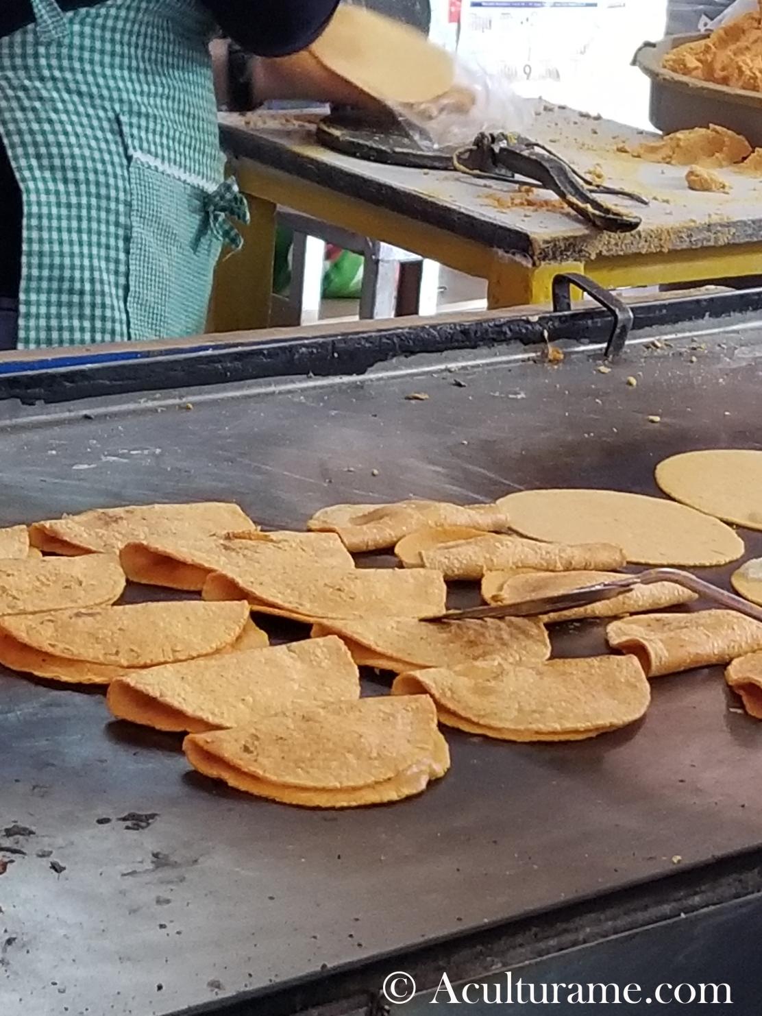 One of the many stands of enchiladas potosinas selling at Mercado República.