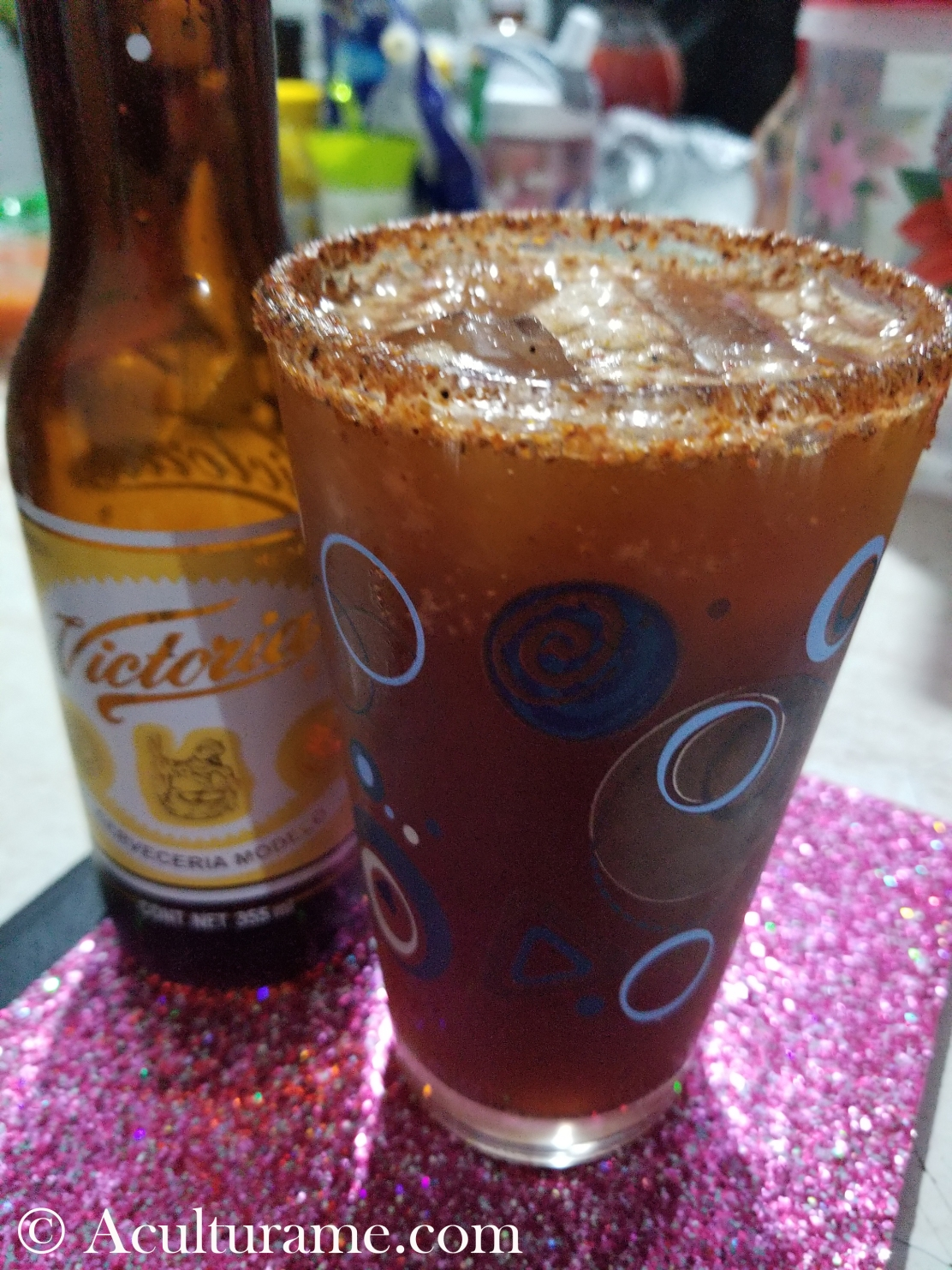 A Michelada is a popular drink from Mexico, usually enjoyed with good friends.